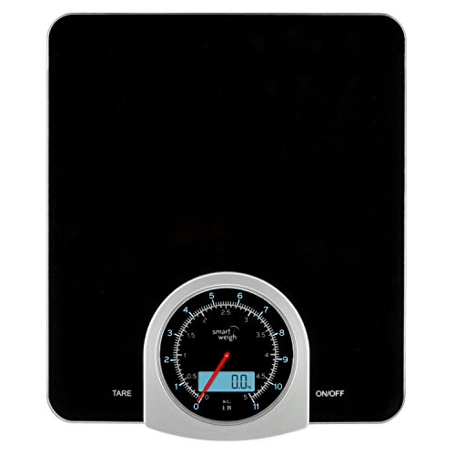 Smart Weigh Digital / Mechanical Kitchen and Food Scale with LCD Display, 11lb Capacity and Large Weighing Platform, (Compact Analog Scale)