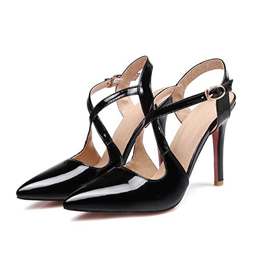 Top Shishang Womens Ankle Strap Pump Party Dress High Heel Roman Shoes Court Shoes Sexy   Club bar Wedding,Black,44