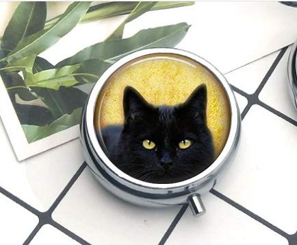Black Cat Pendant, Cat Necklace, Black Cat Charm,Gothic Pendant, Art Pendant, Gift for Friend F Pill Box/Pill case-Round Pill Box/case- Three-Compartment Pill Box/Pill case Everyday Gift Key Chain