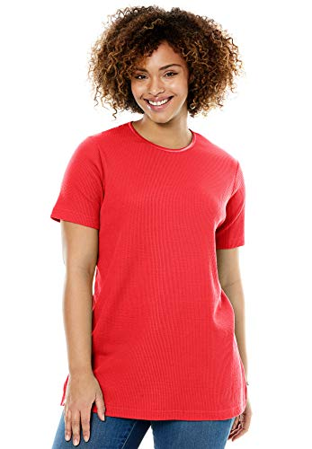 Woman Within Women's Plus Size Satin-Trimmed Crewneck Thermal Tee - Coral Red, L (Crewneck Top Thermal)