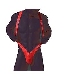 Fangran Men's Faux Leather V Sling Strap Bodysuit Adult Exotic Thong Underwear