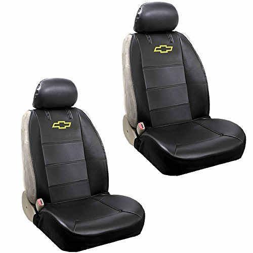 U.A.A. INC. Chevy Logo Lowback Black Synthetic Leather Seat Covers Set Airbag Compatible Universal Fit
