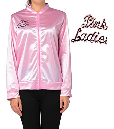 50's Grease T-Bird Danny T Bird / Pink Ladies Jacket Costume Fancy Dress With Rhinestone Primary Version 2XL -