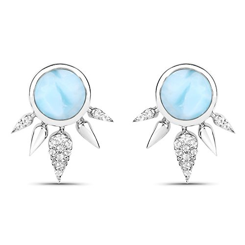 - LoveHuang 2.89 Carats Genuine Larimar and White Topaz Art Deco Stud Earrings Solid .925 Sterling Silver With Rhodium Plating