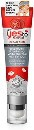 Yes To Tomatoes NEW Detoxifying & Hydrating White Charcoal Spot Mud Mask - 2 Fluid Ounces | For Dry and Sensitive Skin | White Charcoal and Tomato to Detoxify & Hydrate for Healthy Looking Skin