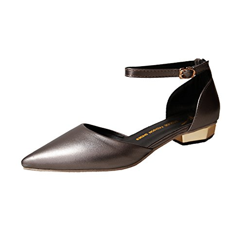 punta Gun e sandali lato caviglia vuoto donne grossa cinghie nuove allievo singolo primavera alla della scarpe color con l'estate scarpe La alla ZHZNVX luce B48qCC