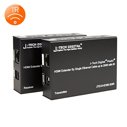 Tech Package (J-Tech Digital ® Hdmi Extender By Single Cat 5E/6/7 up to 200ft with IR support(Receiver + Transmitter Bundle))