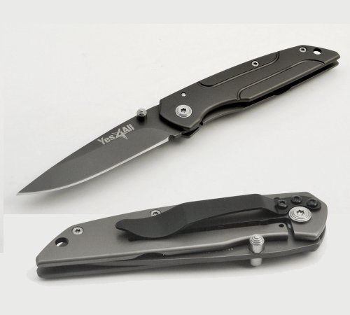 Yes4All Black Folding Pocket Liner Lock Knife for Camping and Hunting Model MH-K547, Outdoor Stuffs