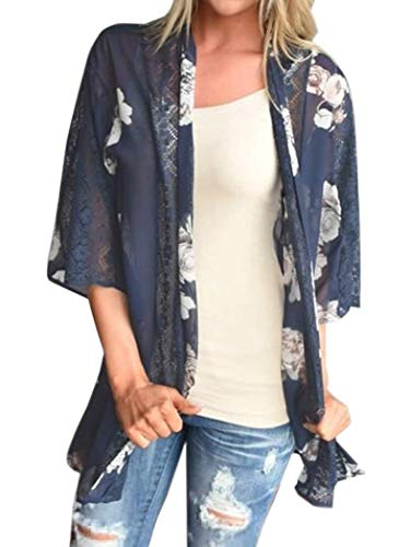 Women's Floral Print Short Sleeve Shawl Chiffon Kimono Cardigan Casual Blouse Tops(Navy Blue L)