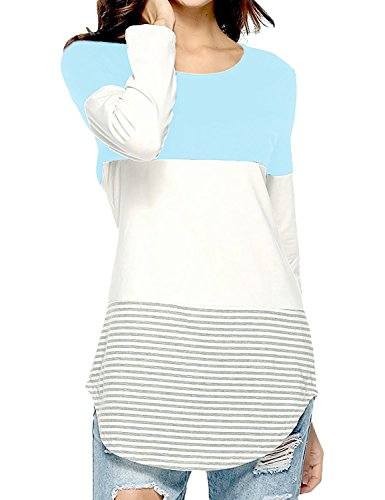 eeve T Shirts and Blouses Striped Casual Sweaters Teen Tunic Tops for Leggings Light Blue XL ()