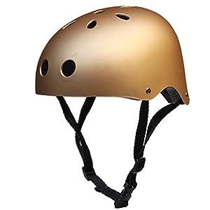 Helmet with Sweatsaver Liner, Skateboard Helmets, Youth Multi-Sport Helmet,Motorcycle Helmet, Cycling Bike Helmet Eco-Friendly Adjustable Trinity for Kids, Youth, Adult (Gold, M)