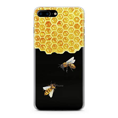 Lex Altern TPU Case for iPhone Apple Xs Max Xr 10 X 8+ 7 6s 6 SE 5s 5 Flexible Print Phone Pattern Child Bee Sweet Smooth Cover Clear Yellow Girl Slim fit Cute Soft Lightweight Design Gift Honeycomb