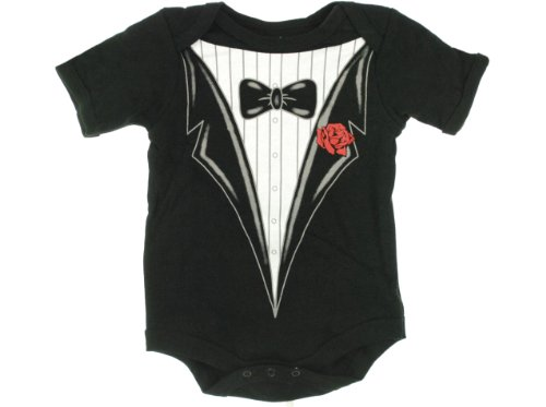 Wild Child By Bon Bebe Infant Tuxedo One-pc Bodysuit 2 Infant Sizes