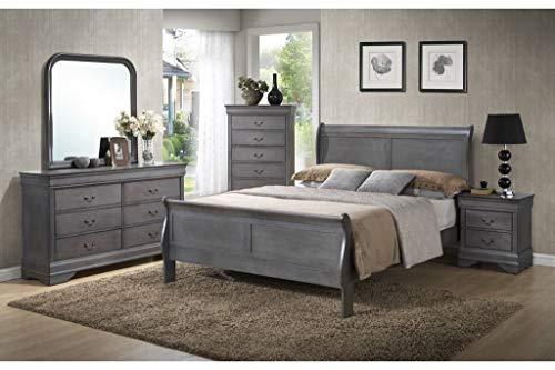 GTU Furniture Classic Louis Philippe Styling Grey Louis Philippe 6Pc Wooden King Bedroom Set(K/D/M/2N/C)