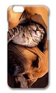 MOKSHOP Adorable cat and dog cuddle Hard Case Protective Shell Cell Phone Cover For Apple Iphone 6 Plus (5.5 Inch) - PC 3D