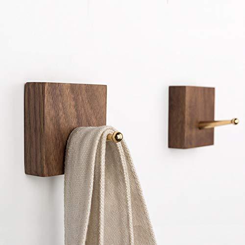 Coat Hooks Wall Mounted - Bathroom Hooks Solid Wood Coat Rack with Brass Hook Wall Mounted Kitchenware Organizer Natural Wooden Wall Hooks Handmade Coat Hanger Key Holder,Walnut 3 Pcs (Walnut Three Coats)