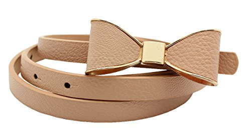 FAD Candy Synthetic Leather Women Skinny Butterfly Bow Waist Belt Waistband Skinpink