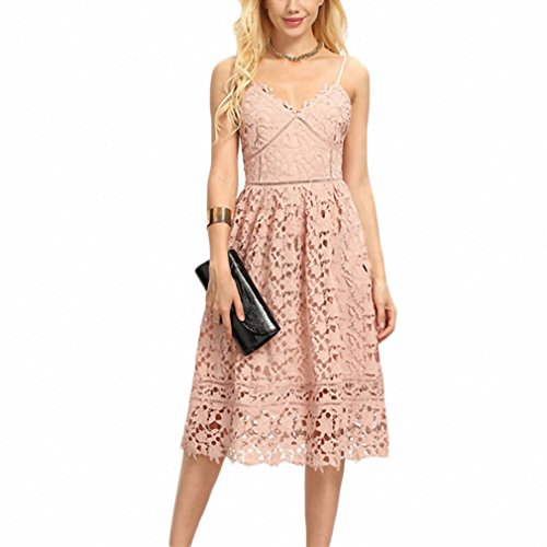 Ladies Hollow Out Fit & Flare Lace Cami Dress Plain Spaghetti Strap Sleeveless V Neck Midi A Line Dress Pink S