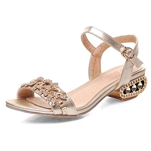 Doré Sandales Strass OALEEN Soirée Or Luxueux Bride Bout Cheville Talon Eté Ouvert Chaussures Femme 0q66Xadw