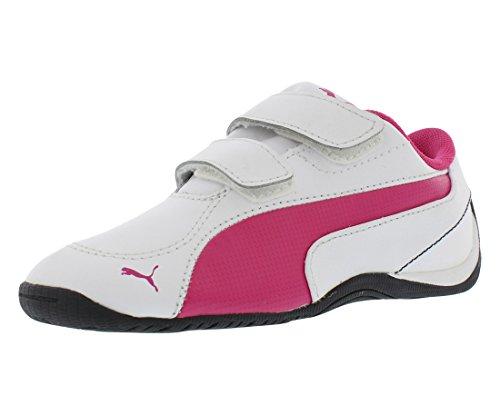 PUMA Drift Cat 5 V Leather Sneaker (Toddler/Little Kid),White/Beetroot Purple/Beetroot Purple,10 M US Toddler ()