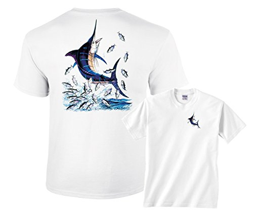 Fair Game Blue Marlin Out Of Water Shirt-White-Adult XL (White Marlin)
