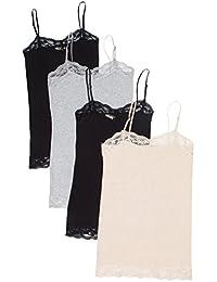 4 Pack Zenana Women's Lace Trim Tanks