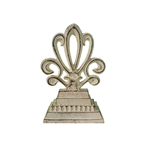 Weathered White Cast Iron Fancy Finial, Decorative Table Top Decor