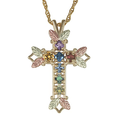 Mothers Black Hills Gold Family Cross Necklace in 10k Gold - Customize from 1 to 7 Birthstones ()