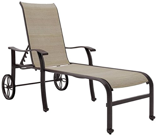 Ashley Furniture Signature Design - Bass Lake Outdoor Sling Chaise Lounge - Adjustable Reclining Positions - Wheels - Beige & Brown