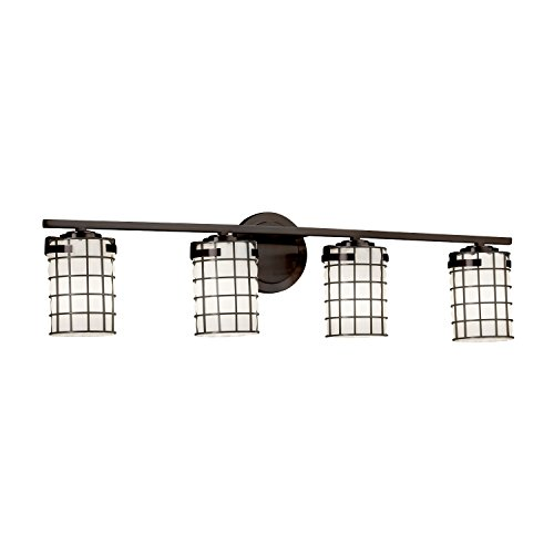Wire Glass - Atlas 4-Light Bath Bar - Cylinder with Flat Rim Wire Cage and Blown Glass Shade in Grid with Opal - Dark Bronze Finish - LED