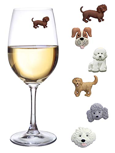 Simply Charmed Magnetic Dog Wine Charms or Glass Markers for Stemless Glasses - Great Birthday or Hostess Gift for Dog Lovers - Set of 6 Cute Puppy Glass Identifiers -