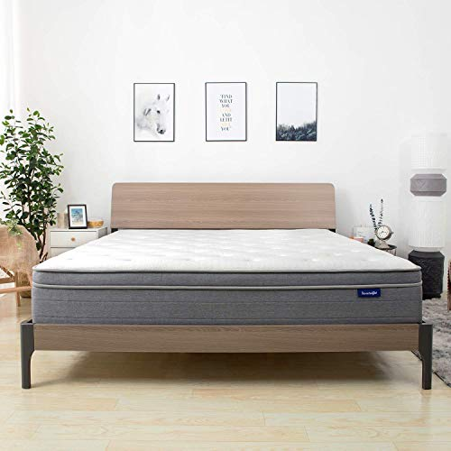 Sweetnight 10 Inch Queen Mattress In a Box - Sleep Cooler with Euro Pillow Top Gel Memory Foam, Individually Pocket Spring Hybrid Mattresses for Motion Isolation, CertiPUR-US Certified, Queen Size
