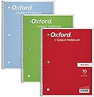 Cadernos de 1 matéria Tops/Oxford, 20 x 26 cm, régua ampla, 70 folhas, pacote com 3, cores sortidas podem vari