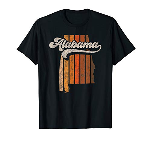 Vintage Alabama Retro 70s Stripes Silhouette Distressed T-Shirt ()