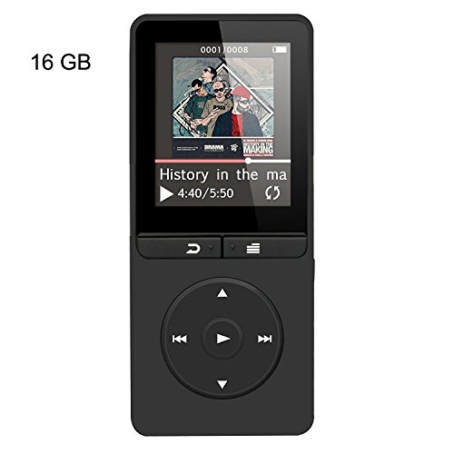 AGPTEK 16GB MP3 Player with FM Radio/Voice Recorder, 80 Hours Playback and Expandable Up to 64GB, A20BS (Black)