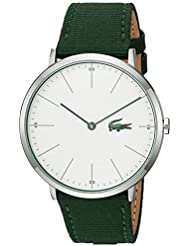 Lacoste Mens MOON ULTRA SLIM Quartz Stainless Steel and Nylon Casual Watch, Color:Green (Model: 2010913)