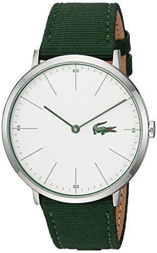Lacoste Men's Moon Ultra Slim Stainless Steel Quartz Watch with Nylon Strap, Green, 20 (Model: 2010913