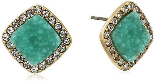 Lonna & Lilly Women's Gold/Turquoise Cushion Druzy Stud Earrings, -
