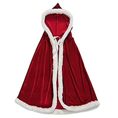 Greenery-GRE Women's Christmas Cloak Deluxe Velet Mrs Santa Claus Hooded Cape Robe Halloween Costume Red