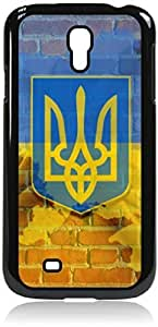 linJUN FENGUkraine Flag-Wall-Art- Case for the Samsung Galaxy S4 i9500- Hard Black Plastic Snap On Case with Soft Black Rubber Lining
