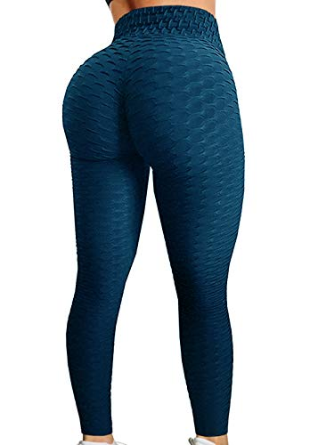 (A AGROSTE Women's High Waist Yoga Pants Tummy Control Workout Ruched Butt Lifting Stretchy Leggings Textured Booty Tights)