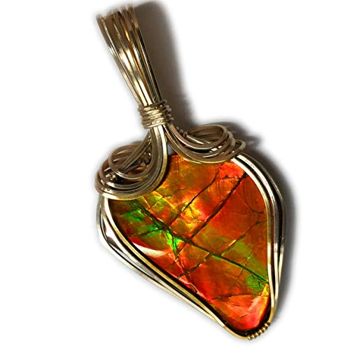 Rocks2Rings AMMOLITE PENDANT 14k Gold - Filled Canadian Green with Black Leather Necklace Wire Wrapped Jewelry 2921g2-03 ZP