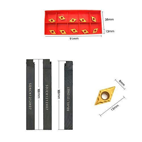 "+ 3PCS 1//2/"" CNC Lathe Carbide Turning Tools Indexable Holder Set SDNCN1212H07"