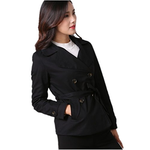 Venxic Women's Twill Cotton Double-Breasted Wear to Work Short Trench Coat Slim Black XS