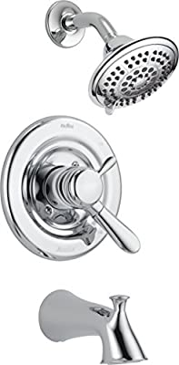 Delta Faucet Lahara 17 Series Dual-Function Tub and Shower Trim Kit with 5-Spray Touch-Clean Shower Head, Chrome T17438 (Valve Not Included)