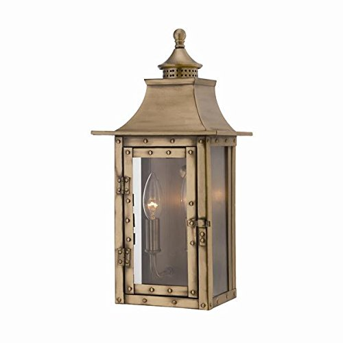 (Acclaim 8302AB St. Charles Collection 2-Light Wall Mount Outdoor Light Fixture, Aged Brass )