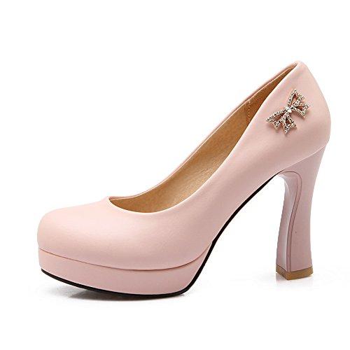 BalaMasa Womens Metal Bowknot Glass Diamond Unique Platform Imitated Leather Pumps-Shoes Pink ESduWkvgmk