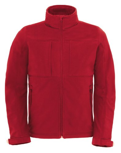 B&C Herren Softshell-Jacke mit abnehmbarer Kapuze Hooded Softshell /men Red XL