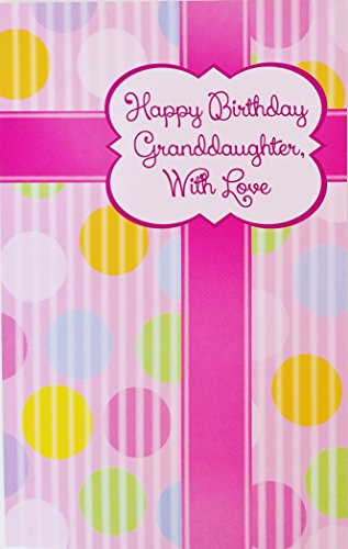 Happy Birthday Granddaughter With Love Greeting Card - Wishing you a day of sunshine, filled with enjoyment and cheer Pink w/ Polka Dots