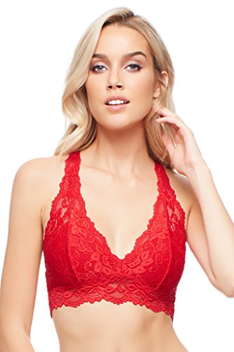 - Jenny Jen Sexy Lace Mia Hourglass Racerback Bralette for Women, Size S-XL for A to D Cups True Red